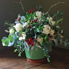 Scented Christmas Flower Pot - the pot is hand thrown in the UK by one of England's oldest pot makers