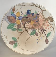 P-decor wall plate executed by Plateelbakkerij Zuid-Holland Gouda circa 1915. Dutch Art Nouveau.