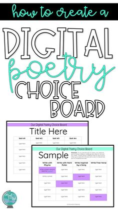How to Make a Digital Poetry Choice Board — Mud and Ink Teaching Digital Poetry, Poetry Lessons, Writing Lessons, Secondary Teacher, Secondary Resources, 6th Grade Ela, Teaching Poetry, Choice Boards, Middle School Ela