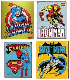 Retro Superhero tin signs and other retro superhero goodness for kids • Artchoo.com