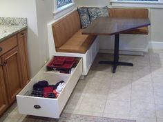 kitchen banquette idea (like the benches; not table)