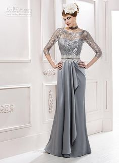 Wholesale Mother of the Bride - Buy A-line 3/4 Sleeves Crew Lace And Strech Satin Full-length Silver Mother of the Bride Dresses 2013, $149.0 | DHgate