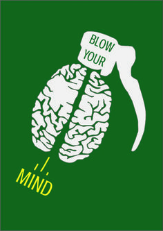 Here is my third T-Shirt Design. The theme of this T-Shirt was 'blow your mind'. I have incorporated a brain illustrating the mind and the top of a hand grenade to illustrate the theme of blowing your mind. For the font I used 'Crushed' worked efficiently with the design being bold and explosive. My reasons for placing the 'Blow Your' at the top of the grenade is this is the first area were the grenade is detonated. And then is the reason why I placed the 'Mind' being blown out of the brain.