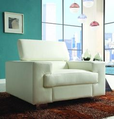 Homelegance 9603WHT-1 Vernon Collection Color White All Bonded Leather
