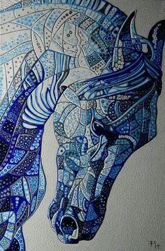 Draw Horses Abstract Horse 6 (Sculptural) By Paula Horsley Horse Drawings, Animal Drawings, Art Drawings, Horse Face Drawing, Mosaic Animals, Doodles Zentangles, Equine Art, Mosaic Art, Mosaics
