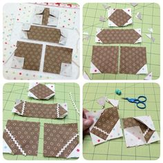 """Okay...here's step 1 in my tutorial for Mr.Cookie:) ✂️top left photo-stitch all 1"" and 3/4"" squares for easy corner triangles as per photo. DO NOT stitch…"""
