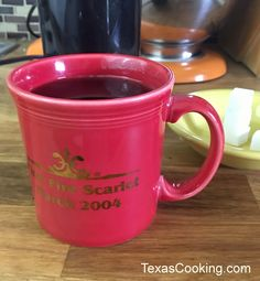 """I give you power. Fiesta® Dinnerware Ring Handle Mug with inscription 'First Fire Scarlet March Fiesta Colors, Homer Laughlin, Novelty Items, Shades Of Red, Scarlet, Dinnerware, Texas, China, Dishes"
