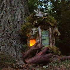 natural finishFairy house with 2 rooms LIMITED NUMBER door CindiBee, $160,00