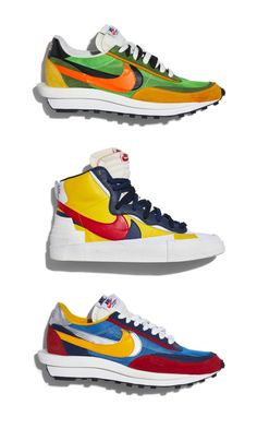 Each Chitose Abe-designed Sacai and Nike model crashes together two iconic swoosh designs: the LDV and the Daybreak, and the Blazer and the Dunk. Psg, Vintage Sneakers, Nike Models, Go Bags, Swagg, Sneakers Fashion, Men's Sneakers, Fashion Shoes, Vintage Men