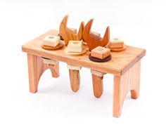 Hard wood work bench with tools that work, made by asummerafternoon on etsy