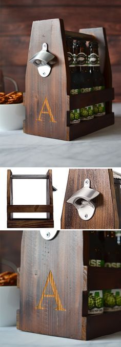 Carry a 6 pack of your favorite home brew beer or cider to the party in this masculine stained rustic wood craft beer bottle carrier personalized with your single initial. When not in use, this uniquely personal and original gift idea will look handsome in your home bar, brewing cellar or man cave. This beer bottle caddy can be ordered at http://myweddingreceptionideas.com/personalized-rustic-wood-craft-beer-bottle-carrier.asp