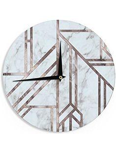"""KESS InHouse KESS Original """"Dark Marble Mosaic"""" Digital Geometric Wall Clock, 12"""" ❤ KESS InHouse"""