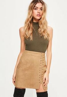 Nude Whipstitch Split Thigh Faux Suede Mini Skirt