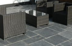 Black Slate Flagstones   Landscaping   Patio   Garden Path   Contemporary Paving