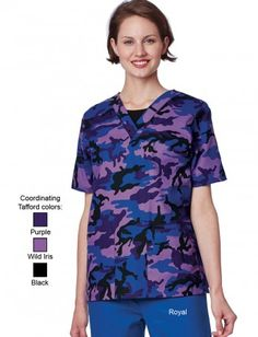 Uniform Advantage offers a vast assortment of medical scrubs and uniforms that are comparable to both Lydia's & Tafford uniforms. Camo Scrubs, Scrubs Outfit, Scrubs Uniform, Ultrasound Tech, Uniform Advantage, Purple Camo, Medical Scrubs, Work Tops, Scrub Tops