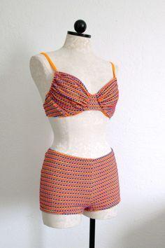 Backflips Vintage 1980's Orange and Purple Neon Two Piece Boy Shorts Swimsuit 11/12, $20.00