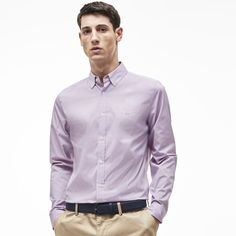 Slim fit shirt in finely checked poplin | LACOSTE