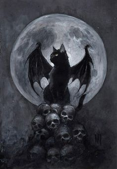 This is a black cat with dragon wings ^^ - Animals - Katzen Chat Halloween, Creepy Halloween, Halloween Artwork, Art Noir, Arte Obscura, Photo Chat, Inspiration Art, Skull Art, Cat Skull