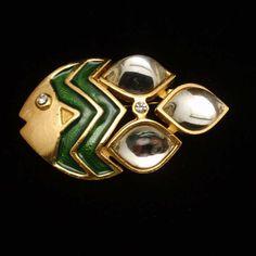 Fish Pin Green Enamel Large Stones by WorldsAttic on Etsy