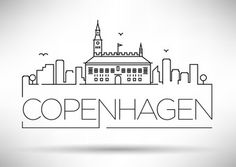 Vector: Linear Copenhagen City Silhouette with Typographic Design
