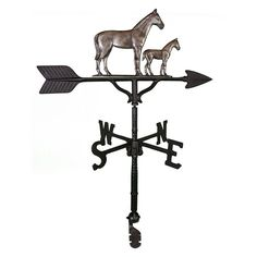 Swedish Iron Mare & Colt Weathervane - 32 in. - WV-255-SI