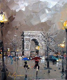 Paris oil painting by Kal Gajoum