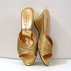 1950s Wedge High Heel Shoes Slides GOLD LAME by LookAgainVintage, $33.00