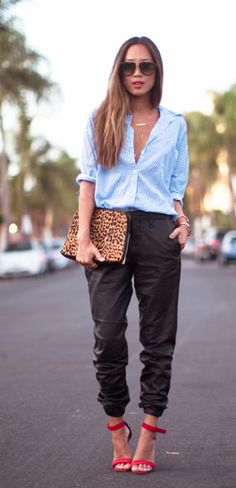 Loose baggy pant is adorable!  I would never have put it with a button-up, but this look is fantastic.