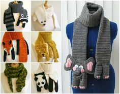 We've put together a collection of Crochet Animal Scarves Free Patterns included. You'll find a video tutorial plus lots of amazing inspiration. Crochet Kids Scarf, Crochet Panda, Love Crochet, Crochet Gifts, Crochet Scarves, Crochet For Kids, Crochet Animals, Crochet Shawl, Crochet Baby