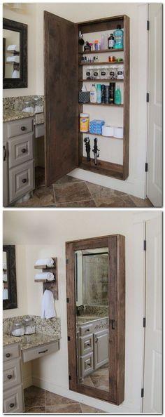 DIY Furniture Plans & Tutorials : Pallet Projects : Mirrored Medicine Cabinet Made From Pallets #diyfurnitureplans