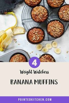 These Banana Muffins with their deliciously sweet crunchy streusel topping are just 4 Smart Points per serving on Weight Watchers Blue, Green, Purple Weight Watchers Pasta, Weight Watcher Cookies, Weight Watchers Desserts, Ww Recipes, Snack Recipes, Dessert Recipes, Healthy Banana Muffins, Sugar Free Pudding, Streusel Topping