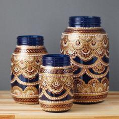 Vanessa Cline - Mason Jar Decor- Three Bohemian Style Mason Jars, Cobalt Blue Glass with Detailing in Copper, Gold, and Cream(Bottle Painting Mason Jars) Mason Jars, Bottles And Jars, Apothecary Jars, Mason Jar Crafts, Bottle Crafts, Glass Bottles, Bottle Painting, Bottle Art, Small Glass Jars
