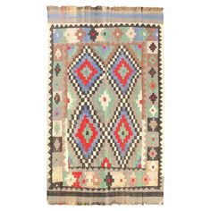 Ottoman Kilim in Blue and Light Grey