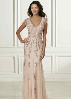 Adrianna Papell 40160 Floral Beaded Dress - This Adrianna Papell Platinum 40160 trumpet-style bridesmaid dress is crafted in floral beaded tull - Mother Of The Bride Dresses Long, Mothers Dresses, Long Mothers Dress, Grooms Mother Dresses, Mob Dresses, Fashion Dresses, Bridesmaid Dresses, Embellished Bridesmaid Dress, Bridesmaid Pictures