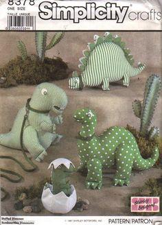 80s Shirley Botsford Stuffed Dinosaurs Sewing Pattern Simplicity 8378 Uncut. $6.95, via Etsy.