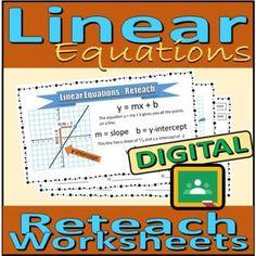 Digital Reteach Worksheets - Linear Equations by Rethink Math Teacher