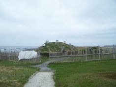 One of the Viking sod houses that were rebuilt next to the site of the thousand year old Viking settlement at L'Anse aux Meadows. (photo by Krista D. L'anse Aux Meadows, A Thousand Years, Deck, Spirit, Houses, World, Outdoor Decor, Thousand Years, Homes
