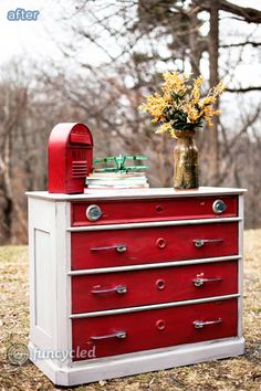 This piece in and of itself didn't do anything for me, but I LOVE the idea of using junked car door handles as dresser hardware!