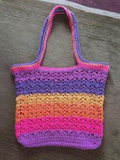 Tote Bag crocheted by azbelle3 using a free crochet pattern - Wrapped Ombre Tote Bag by Tamara Kelly using Caron Cakes Funfetti Yarn.