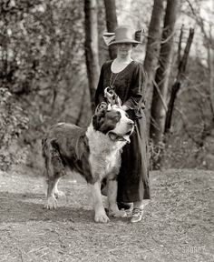 "Washington, D.C., circa 1925. ""Mrs. Marion Durphy with 'The Duke of Arlington.'"" National Photo Company Collection glass negative."