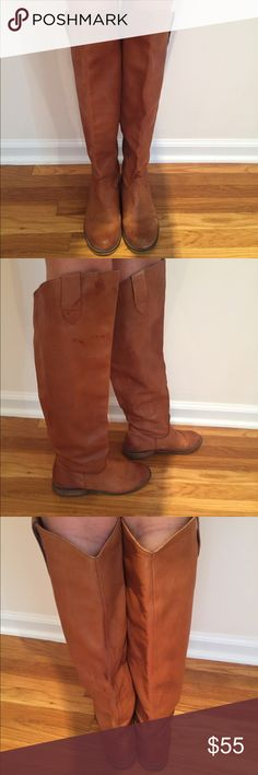 Tan Leather Boots REAL Leather Boots, over the knee, worn with exterior scuffs and mark, very very comfortable, cute, and trendy! Size 7 but I am a 6.5 and they fit me as well Shoes Over the Knee Boots
