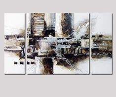 Noah Art-Black and White Abstract Art, 100% Hand Painted ...