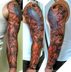 oriental tattoo sleeves of koi and lillies in water - Google Search