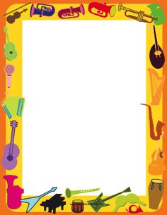 This printable musical instrument border is decorated with saxophones, harps, drums and guitars. Free to download and print.