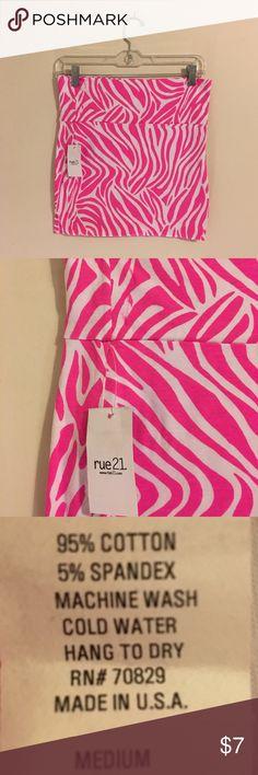Pink and White Zebra cotton mini skirt Rue 21 Pink and White Zebra cotton mini skirt Rue 21 size medium never worn. Tags still on. Rue 21 Skirts Mini