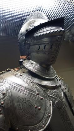 Closeup of Half armor made in Brescia Italy the principal supplier of the Republic of Venice 1580 CE etched and blackened steel (1)
