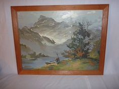 VIntage Paint By Number PBN Framed Mountain Boat Stream Mountain Retreat 1969 #Realism