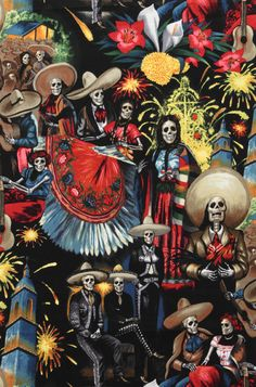 Alexander Henry Folklorico Fiesta de San Marcos Alexander Henry Fabrics celebrates Latino culture, heritage, and folk art with Folklorico fabrics Mexican Skulls, Mexican Art, Mexican Fabric, Alexander Henry Fabrics, Mexican Holiday, Day Of The Dead Art, Chicano Art, Shops, Illustrations