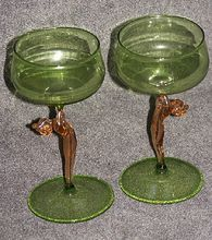 Rare Art Deco Figural Bimini Glasses = 2