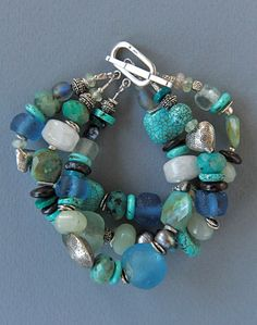 3-strand turquoise & blue bracelet